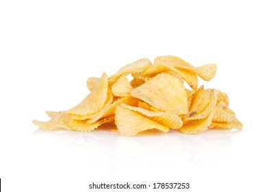 Potato chips heap. Isolated on white background