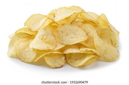 potato chips, isolated on white background