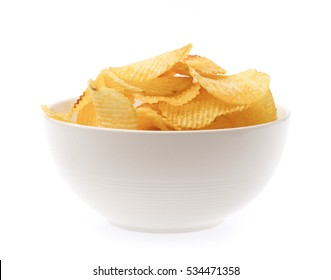 Potato chips on bowl isolated on white background