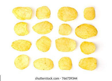 Potato chips on a white