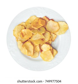 Potato chips on a white plate. Isolated