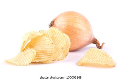 Potato chips and onion isolated on white background