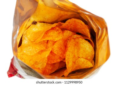 Potato chips in the package. Isolated on white background.
