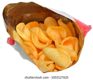 Potato chips in packaging close up isolated on a white background.