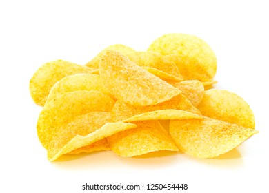 Potato chips placed on a white background