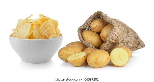 potato chips and potato in the sack isolated on white background
