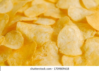 Potato chips snack as background image texture background. Copy, empty space for text