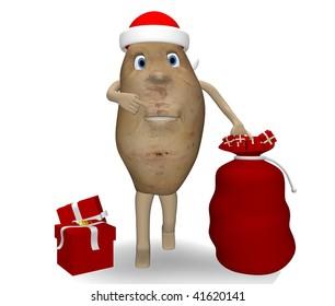 potato with Christmas gifts