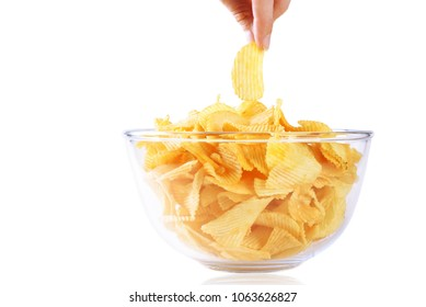 Potato crisps, chips, in the bowl white background