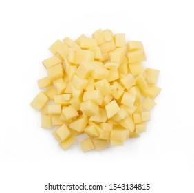 potato cubes isolated on white background.