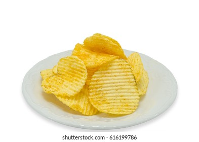 Potato fries isolated on a white background.