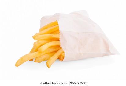 potato fry on white isolated background