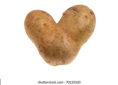 Potato heart isolated on white