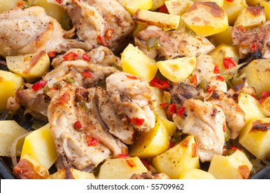 Potato with hen.  grill