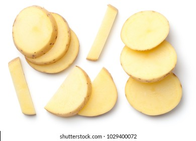 Potato isolated on white background. Top view
