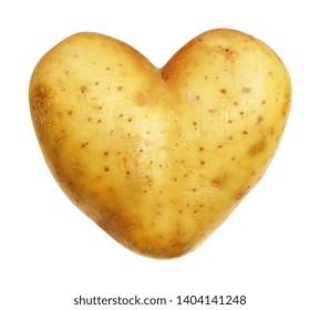 Potato isolated on white background, heart-shaped