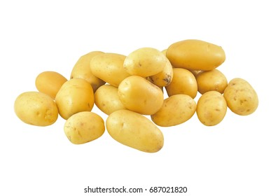 Potato isolated on white background, Isolated potatoes. Fresh organic potato stand out among many large background potatos in the market. Heap of potatos root. Close-up potatos texture. Macro potato.