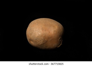 Potato on the black background