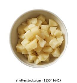 Potato on bowl. Preparing ingredients for cooking.