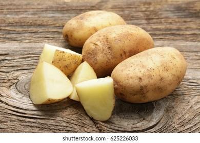 potato on wooden table