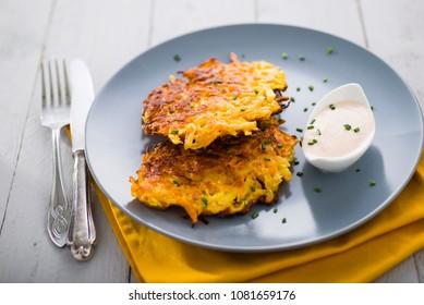 potato pancakes on a grey dish