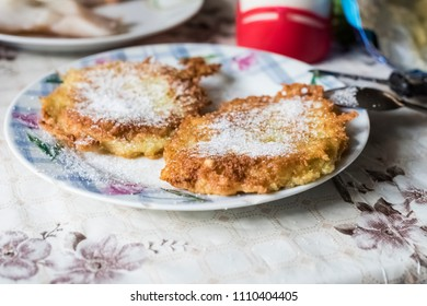 potato pancakes with sugar - tasty breakfast