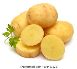 Potato and parsley isolated on white background