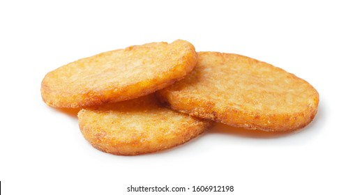 Potato patties or hash browns oval-shaped isolated on white background