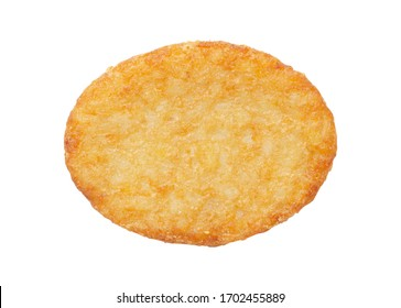 Potato patty or hash brown oval-shaped isolated on white background, top view
