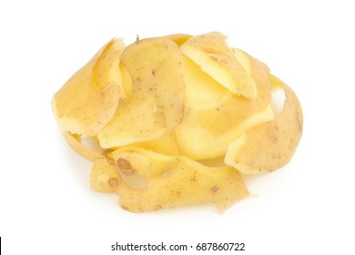 Potato peel isolated on white background.