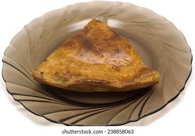 potato pie on a white background