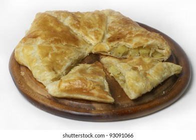 potato pie with onion and parsley