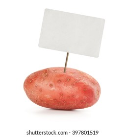 potato with price tag isolated on white background
