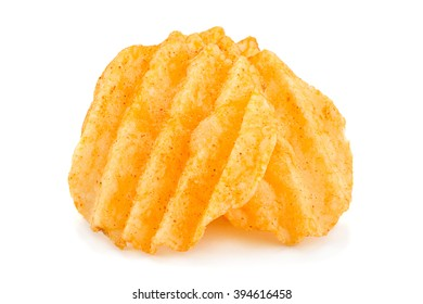 Potato ribbed chips snack isolated on white