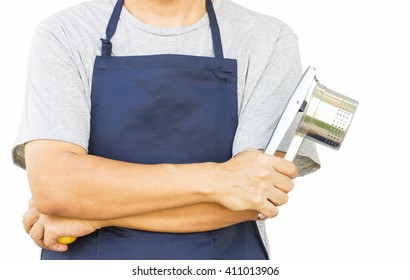 Potato Ricer In Chef's Hand On White Background
