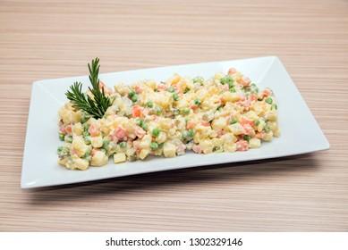 Potato salad on a decorative plate