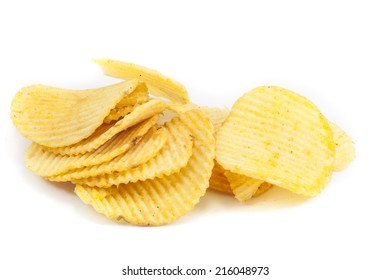 Potato salt chips isolated on the white background