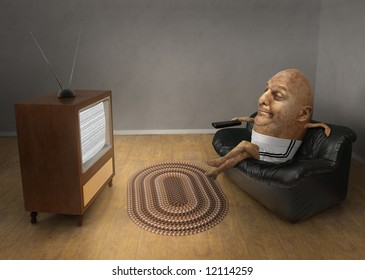 Potato sitting on a couch watching a vintage television