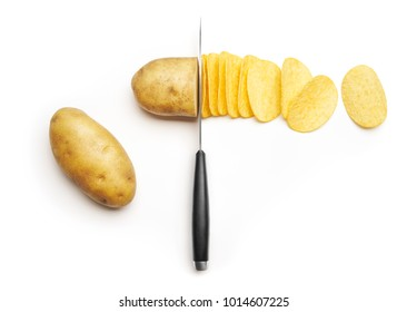 Potato slice into potato chips isolated on white background