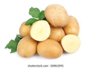 Potato vegetable close up isolated on white