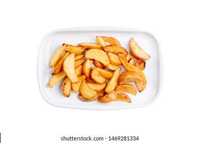 Potato wedges on white plate isolated on white background. Hot fastfood. Top view Food Image for menu card, web design, site, shop or delivery. High quality retouch and isolation.