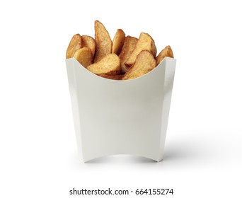 potato wedges in a white box isolated on white background