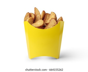 potato wedges in a yellow box isolated on white background
