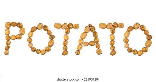 """Potato"" written with potatoes."