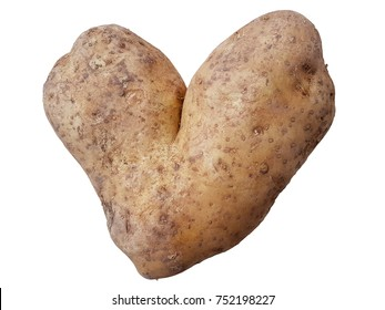 Potatoe in the shape of a heart. A funny view.