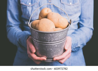 potatoes bucket in hands - vegetarian and vegan people - vintage style filter