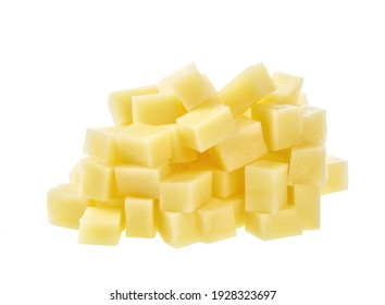 Potatoes cut into cubes isolated on white background.