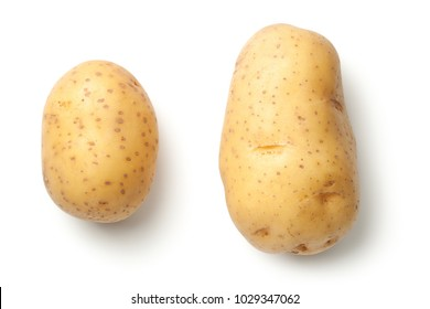 Potatoes isolated on white background. Top view