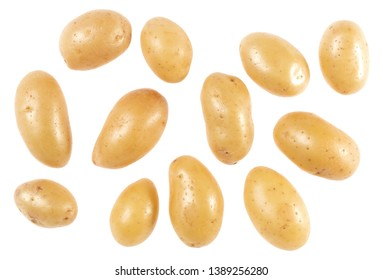 Potatoes isolated on white background. Top view. Flat lay pattern. Potatoes in air, without shadow.