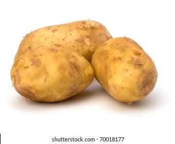 potatoes isolated on white background close up